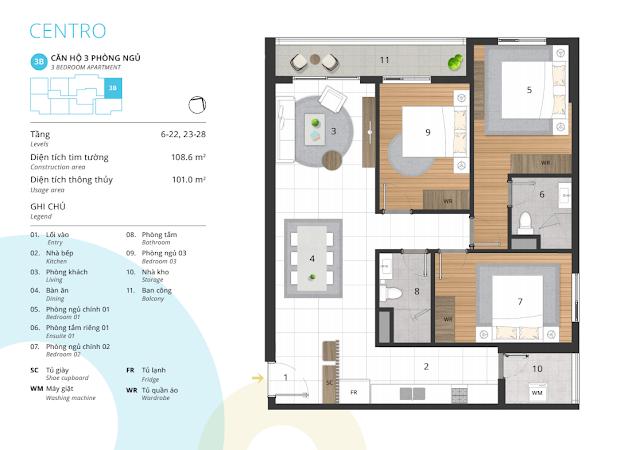 Thiết kế điển hình căn hộ 03 phòng ngủ