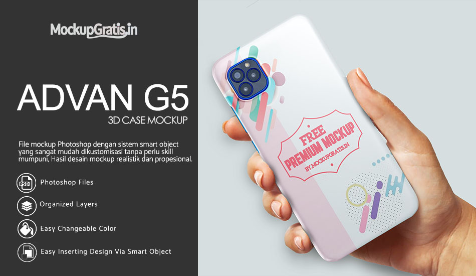 Mockup Custom Case 3D ADVAN G5 Gratis