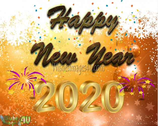 New Year 2020 Full HD Golden Photo Greetings