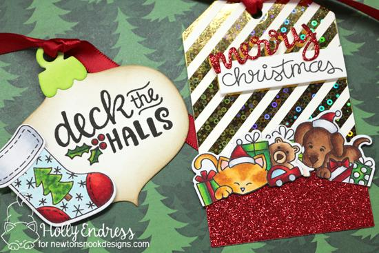 Holiday Tags by Holly Endress | Ornamental Wishes, All Aboard for Christmas, and Holiday Stockings Stamp Sets and dies by Newton's Nook Designs #newtonsnook #handmade