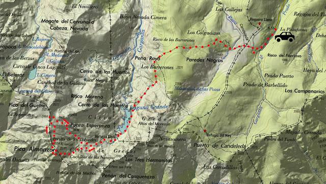 Mapa de la ruta señalizada al Pico Almanzor