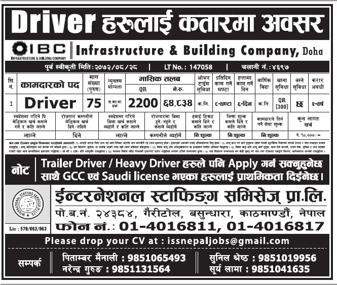 Jobs in Qatar Doha for Nepali, Salary Up to Rs 64,834