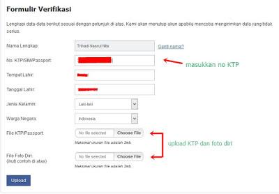 cara mengisi form verifikasi di akun VipBitcoin.co.id