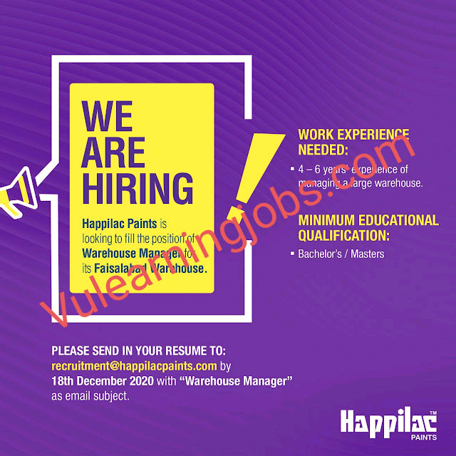 Happilac Paints Jobs 2020 For Warehouse Manager Latest