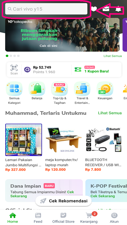 Kolom Pencarian Produk dan Toko di Aplikasi Marketplace Tokopedia.