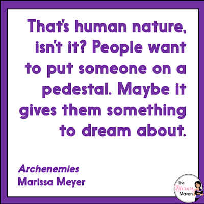 In Archenemies by Marissa Meyer, Nova is a villain in disguise as a superhero as she tries to bring down the superheroes ruling the city, but her efforts become more complicated as her feelings for Adrian deepen. Meanwhile, Adrian adds to the Sentinels powers, but then tries to let the Sentinel dies because the Renegades see the Sentinel as a villain. Read on for more of my review and ideas for classroom application.