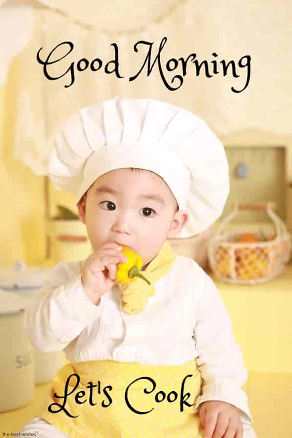 good morning with a cooking baby kitchen chef eat