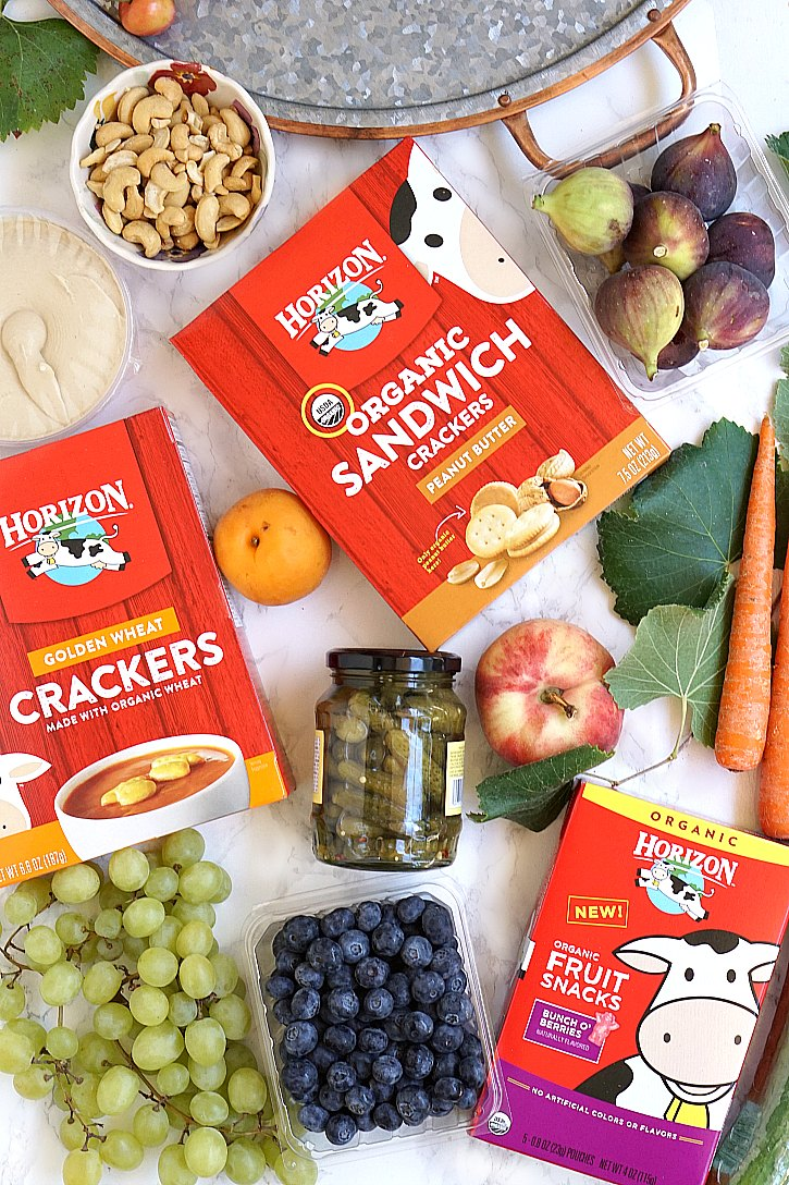 Fresh fruit and Horizon Organic snacks are perfect for a party platter.