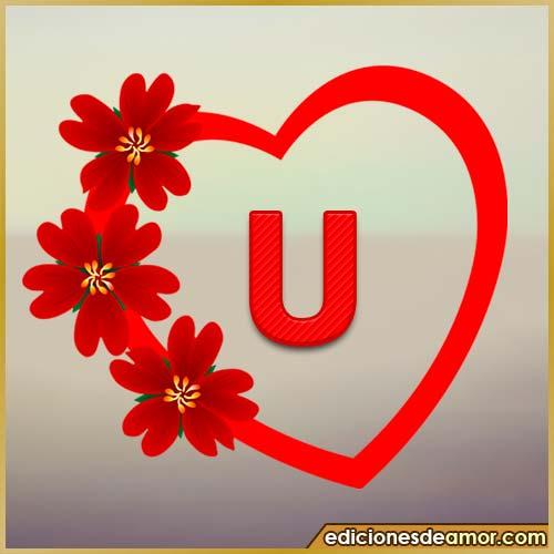 corazón de flores con letra U