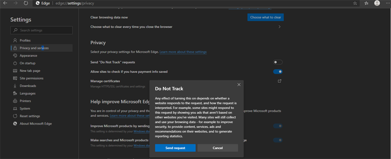 Track prevention feature located on its privacy settings