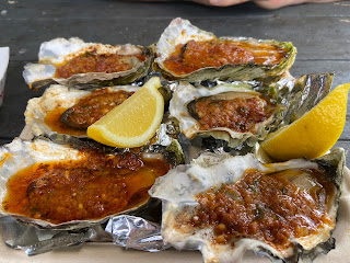 Barbequed oysters at Nevør Shellfish Farm.
