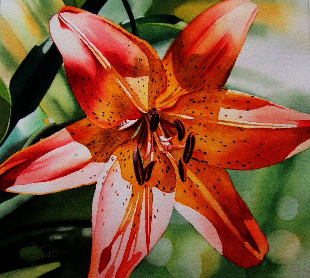 Contemporary Realism Yellow Red Oriental Lily