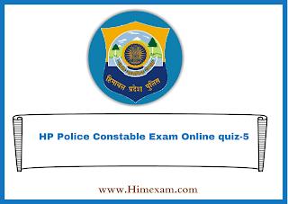 HP Police Constable Exam Online quiz-5