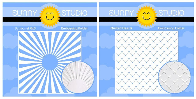Sunny Studio Stamps: Introducing 2 New Spring 6x6 Embossing Folders ~ Sunburst & Quilted Hearts
