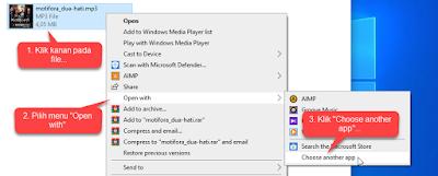 Mengganti Aplikasi Default melalui File Explorer