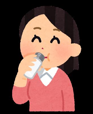 小さい水筒で飲む人のイラスト(女性)