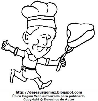 Dibujo de persona trabajando para colorear o pintar (cocinero llevando su carne para cocinar). Dibujo de persona trabajando hecho por Jesus Gómez