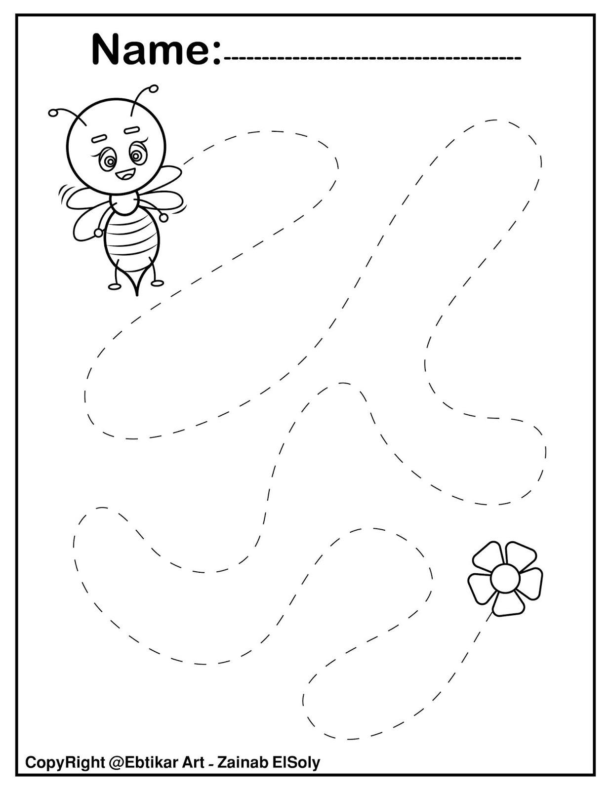 Set Of Fine Motor Tracing Bee Activity