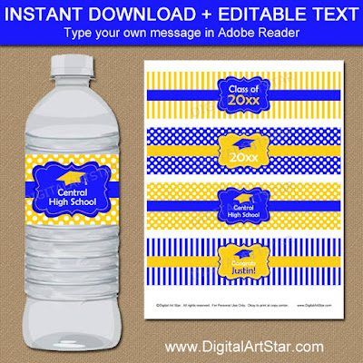 blue and yellow graduation party water labels - editable PDF file