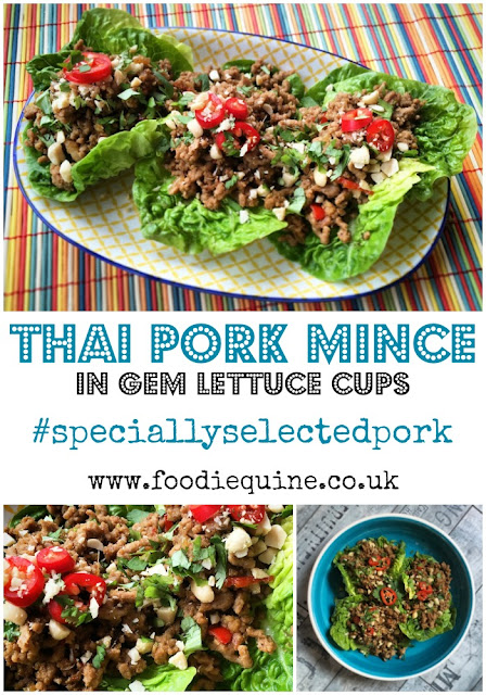 Thai Pork Mince www.foodiequine.co.uk Specially Selected Pork makes a speedy Gluten Free Asian midweek meal of Thai Pork Mince served in Gem Lettuce Cups or with Jasmine Rice