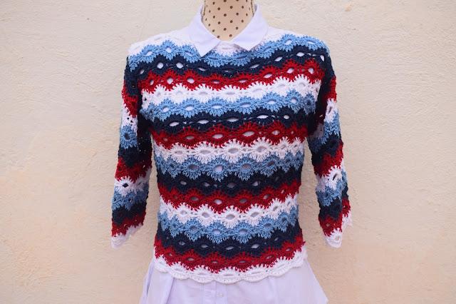 6 - Crochet Imagenes Jersey marinero con 4 rectangulos a crochet y ganchillo por Majovel crochet