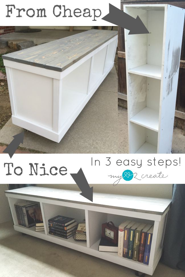 Take an old piece of laminate furniture and transform it into a nice piece in three easy steps!  Learn how at MyLove2Create.com