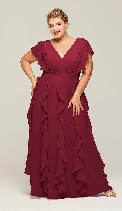 Plus Size Red Chiffon Bridesmaid Dresses
