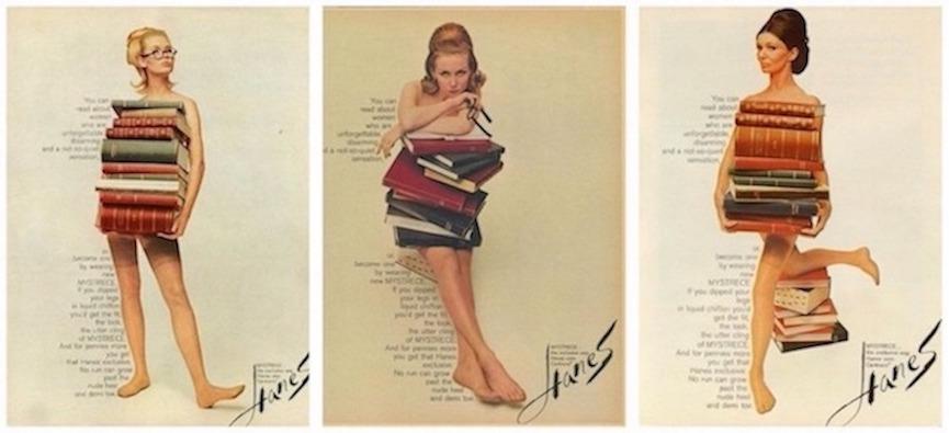 Vintage Hanes MYSTRECE pantyhose ads featuring nude librarians. Talk Dewey To Me. marchmatron.com