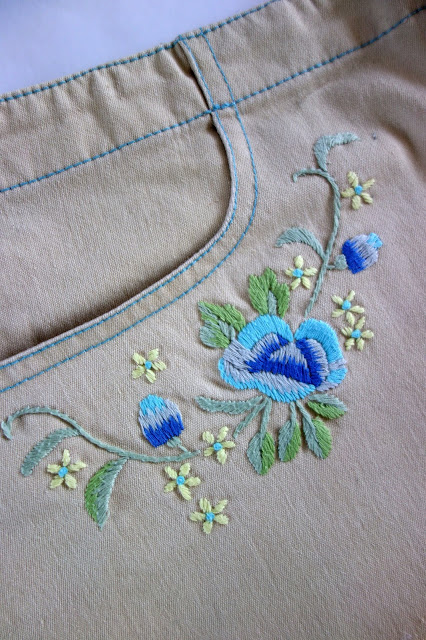 embroidery, embroidered skirt, blah to TADA, sewing crafts, floral embroidery, flowers