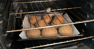 keto buns baking in the oven