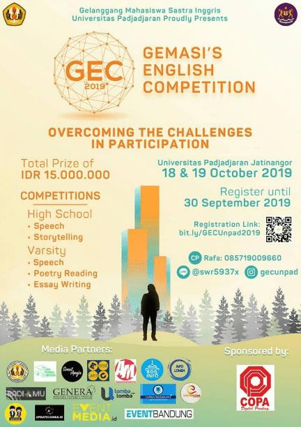 Event/Lomba Inggris Gemasi's (GEC) Unpad 2019 SMA Sederajat & Universitas