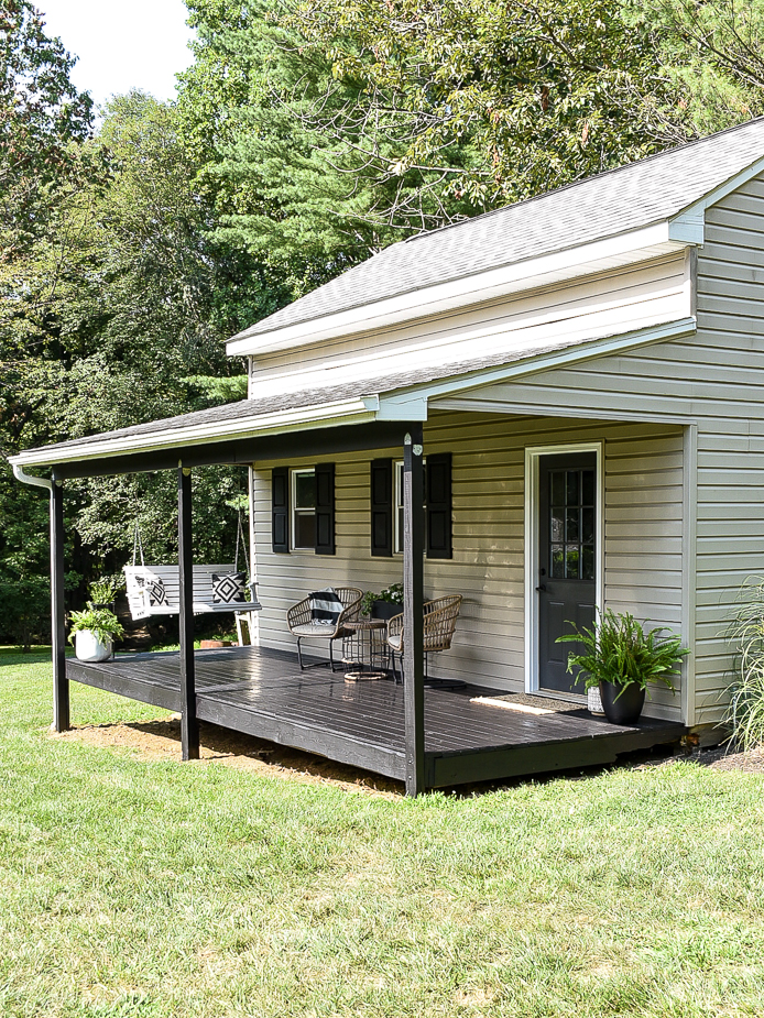 Black stained deck