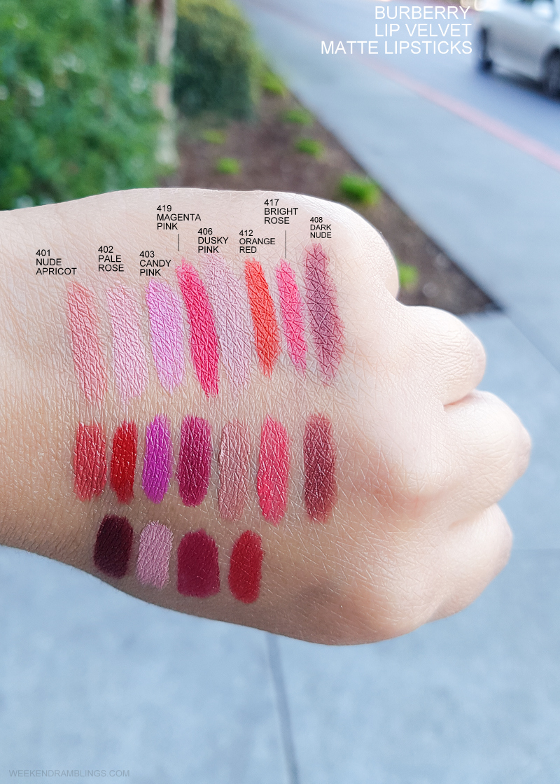 Burberry Beauty Lip Velvet Matte Lipsticks - Swatches  401 Nude Apricot - 402 Pale Rose - 403 Candy Pink - 419 Magenta Pink  406 Dusky Pink - 412 Orange Red - 417 Bright Rose - 408 Dark Nude