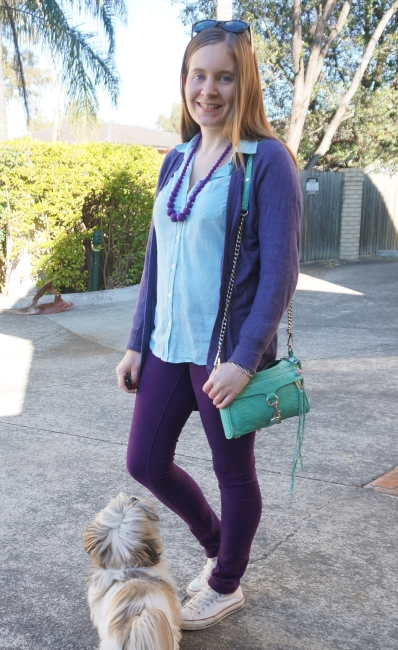 mint and aqua with purple cardigan and skinny jeans, Converse | Away From Blue