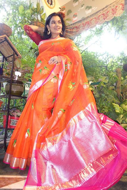 Zesty orange Kota Doria saree with pure zari