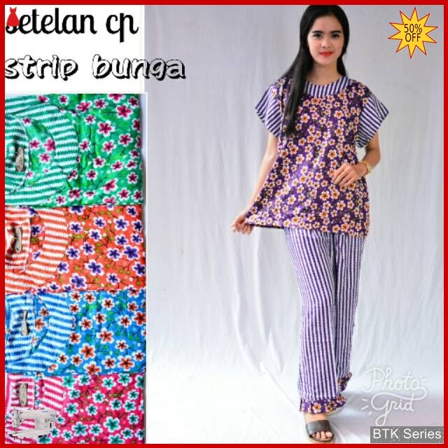 BTK042 Baju Setelan Cp Strip Bunga Modis Murah BMGShop