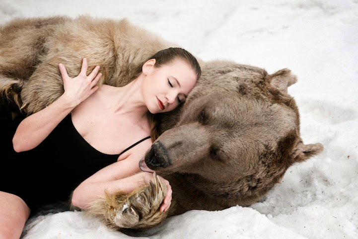 Russian model posing with bear
