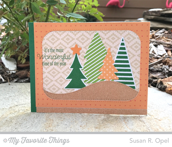 Handmade card from Susan R. Opel featuring Lisa Johnson Designs Trim the Tree stamp set, Oh Christmas Trees stamp set and Die-namics, Hit the Slopes, Inside & Out Stitched Rounded Rectangle STAX, and Blueprints 21 Die-namics #mftstamps