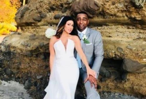 Susanna Baumann And Her Husband Cris Carter On Their Wedding Day