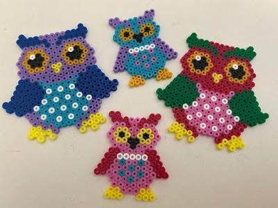 Mini Hama bead owl designs