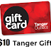 Free $10 Tanger Outlet Gift Card - Use at Any Store At Any Tanger Outlet For Free $10 of Items!