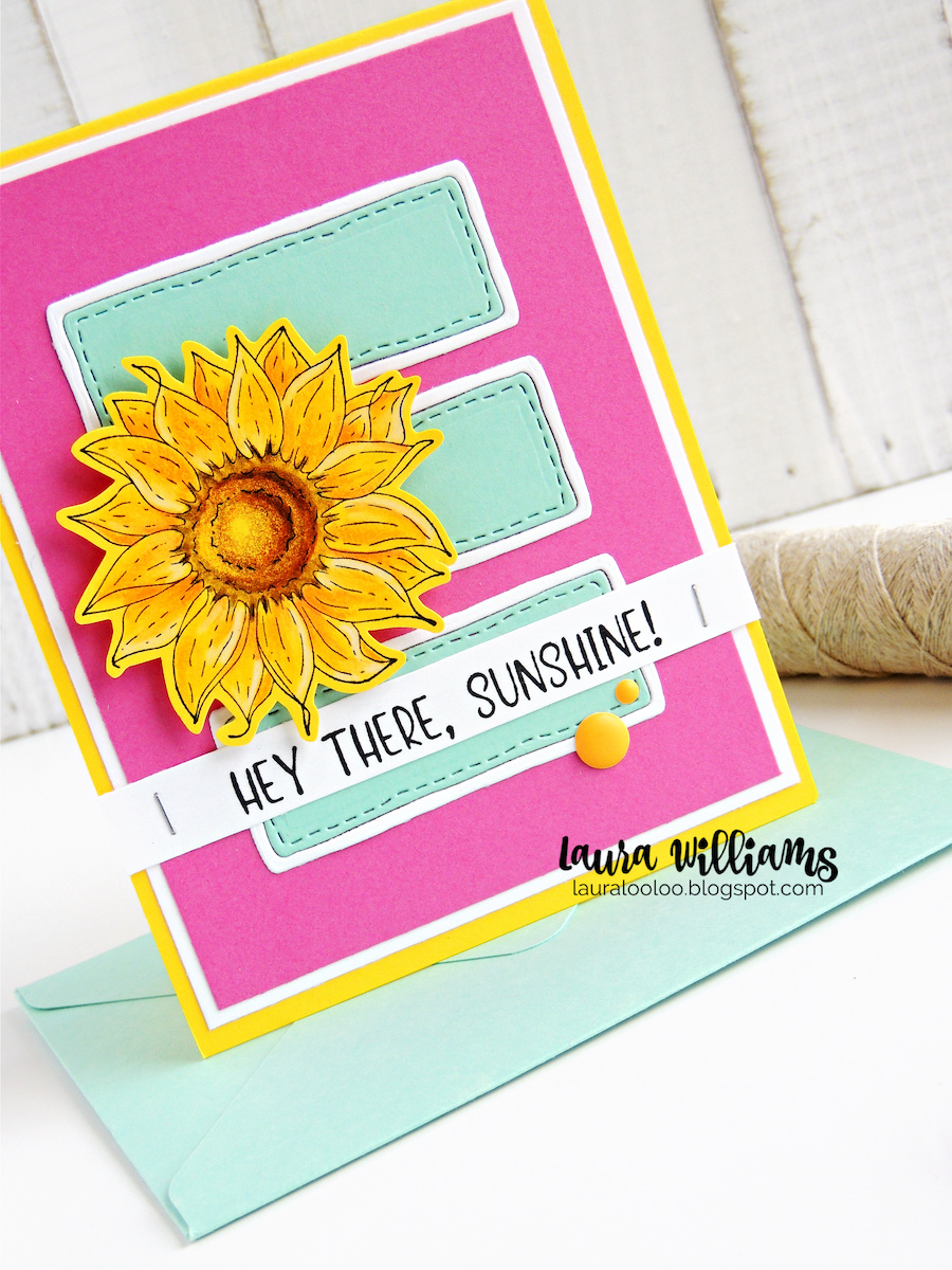 Make a sweet sunflower card with a simple die cut background using stamps and dies from Impression Obsession to say HEY THERE SUNSHINE, to your favorite sunshine!