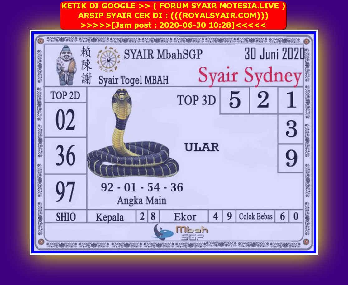 Kode syair Sydney Selasa 30 Juni 2020 188