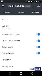 yi dash camera ustawienia  w aplikacji