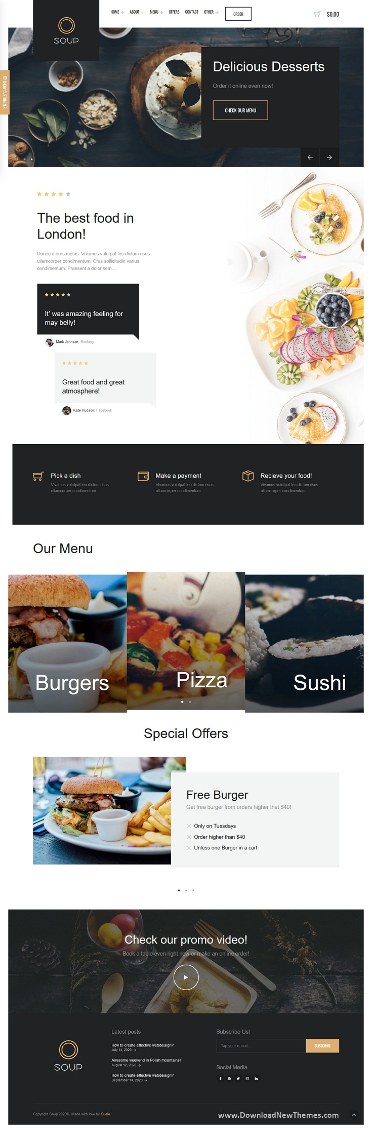 Restaurant with Online Ordering System Template