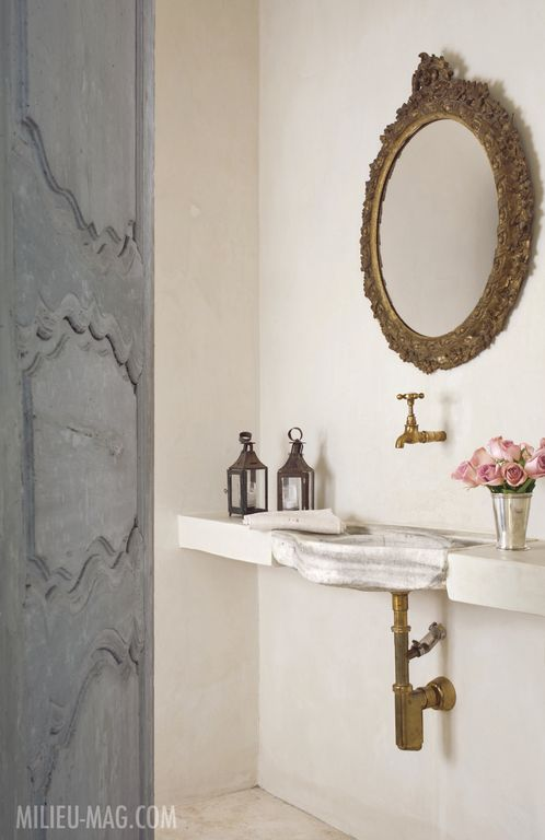 Timeless and tranquil bathroom by Pamela Pierce in Milieu magazine