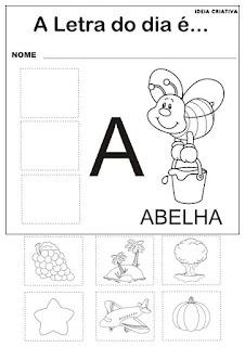 Atividades com  as Vogais  para imprimir