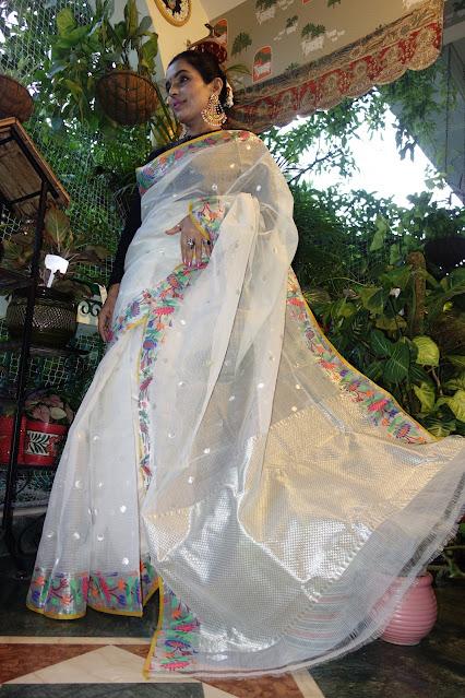 Snow White Kota Doria saree