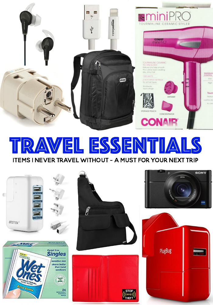 Travel Essentials - 16 must have items for your next trip in the USA or Europe and the UK. Power chargers, hair dryers, wet wipes, the best handbag, camera, phone accessories, headphones - all of the things I never travel without!