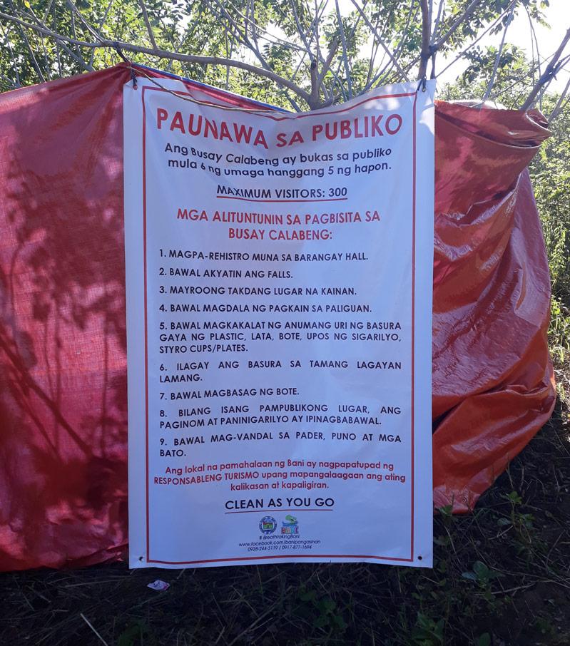 Busay Falls Regulations
